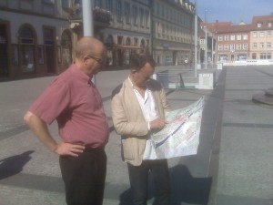 Jens Felke ESN Pro Leader and Glenn Tepper , ITTF Ex Dir of Development trying to find ther way in Bramberg,Germany